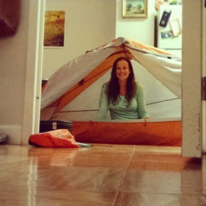 Getting acquainted with my tent.